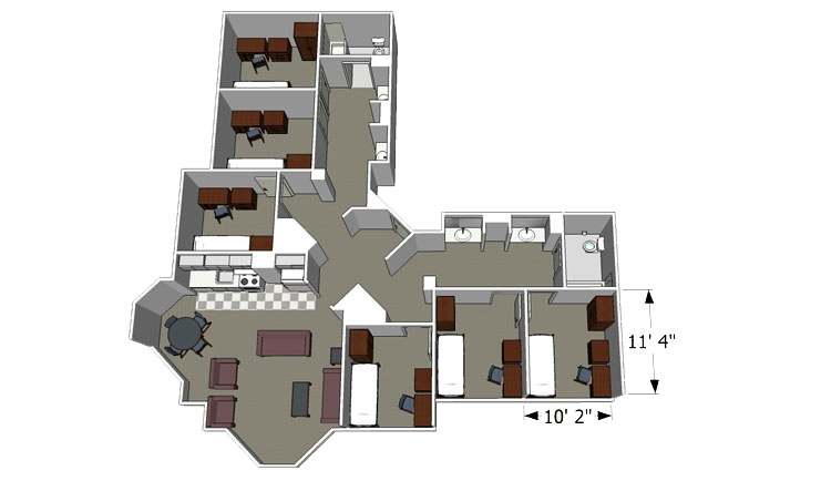 6 Person Room Detail