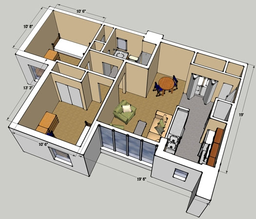 2 Bedroom Room Detail diagram for Tenth and Home E